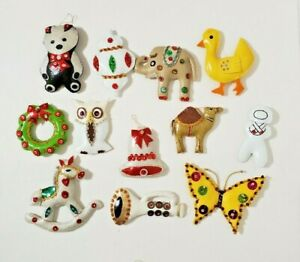 Vintage Hand Stitched Vinyl  CHRISTMAS ORNAMENTS LOT of 12 Buttons Beads Sequins