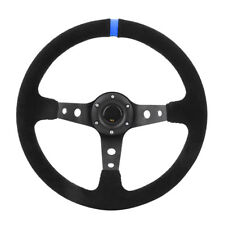350mm Deep Dish Suede Leather Car JDM Sport Racing Steering Wheel Horn Button