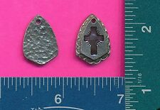 lead free pewter cross shield pendant with purple epoxy 4066-6