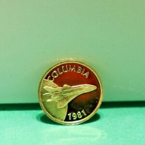 1981 COLUMBIA SPACE SHUTTLE 24KT GOLD PROOF MEDAL 5000 MINTED