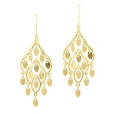 Fancy Chandelier Teardrop Dangle Earrings Shepherd's Hook REAL 14K Yellow Gold