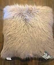 Dormify Mongolian Faux Fur Throw Pillow, Square Decorative Purple Lavender 26x26