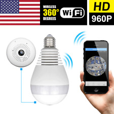 360° Wireless WiFi HD 960P Hidden E27 Light Bulb IP CCTV Security System Camera