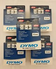 "FIVE Genuine DYMO White on Clear Tape Label for DYMO 45810 D1 19mm 3/4"" USA"