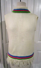 GROOVY 60'S FRINGED MOD, SLEEVELESS SWEATER, BRIGHT COLORS, SUPER CONDITION!