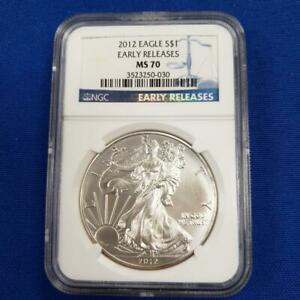 """2012 US 1ozt .999 Silver Eagle $1 NGC MS70 """"EARLY RELEASES"""" L9093"""