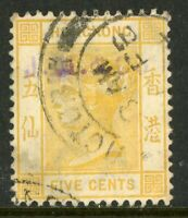 China 1900 Hong Kong 5¢ Yellow QV Wmk CCA SG #58 VFU K474 ⭐⭐⭐⭐⭐⭐