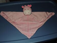 CARTER'S SNUGGLE SECURITY BLANKET PINK GIRAFFE WHITE POLK A DOT RATTLE