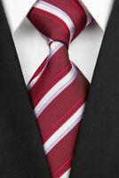 Tie Necktie Red White Purple Striped Classic 100% Silk Men's Ties Neckties