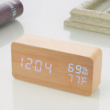 Creative Digital LED Wood Desk Alarm Clock Voice Control Timer Thermometer New
