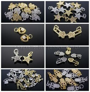 Clear Zircon Gemstones Pave Various Pendant Connector Charm Beads Silver Gold