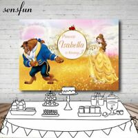 Princess Beauty And The Beast Birthday Party Photography Backdrop Custom Name