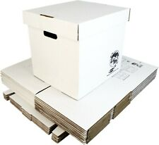 "(10) 12"" White Record Boxes with Lids - LP Vinyl Album 33rpm Cardboard Storage"