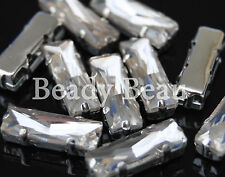 PK 5 GLASS BAGUETTE RECTANGLE SEW ON MOUNT SET CLEAR CRYSTAL RHINESTONE 5X15MM