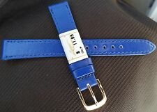 ZRC Made in France Blue Calfskin Calf 14mm Watch Band Gold Tone Buckle $11.95