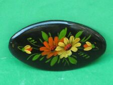 Russian Traditional Woman's Brooch. Hand Painted Lacquer Miniature. Metal Base