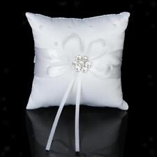Cuscino Portafede Raso Bianco Fiore Strass Decorazione Matrimonio Bomboniere