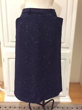 Vintage Navy Blue Wool Pencil Skirt Accented Front Pockets