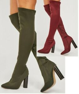 Womens Over The Knee High Boots Block High Heel Stretch Calf Leg Shoes Sizes 3-8