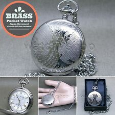 "Silver Antique Pocket Watch Brass Case Silver Face Men Gift + 14"" Fob Chain P256"