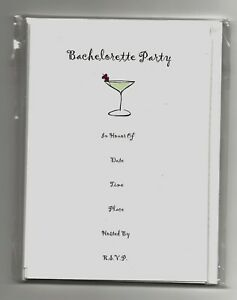"""23 Fill-In Bachelorette Party Invitations/envelopes """"Cosmo"""" theme by des amis"""