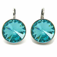 Large Round Bella Women Turquise  Earrings Made with SWAROVSKI Crystals®