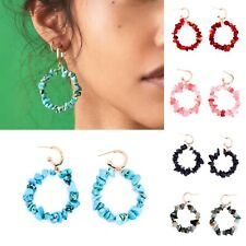 Turquoise Stone Shell Bead Statement Big Hoop Gold Earrings. Zara Fashion Style