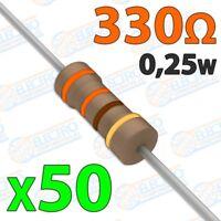 Resistencia 330 ohm 0,25w ±5% 300v - Lote 50 unidades - Arduino Electronica DIY