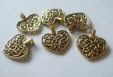 50 x Filigree Heart Charms Antique Gold Tone 17x15mm Pendants Crafts Findings