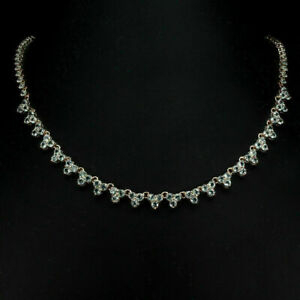 Necklace Blue Topaz Genuine Sterling Silver Rose Gold Coated 19 1/4 to 21 1/4 In