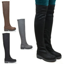 Womens Thigh High Low Chunky Sole Ladies Biker Over The Knee Faux Suede Boots