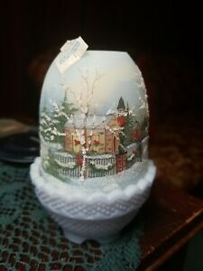 Fenton Fairy Lamp Signed 1991 With Church And Winter Scene