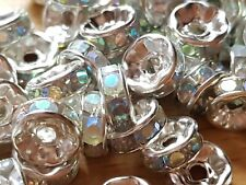 50 SILVER AB CLEAR RHINESTONE RONDELLE SPACER BEADS 8MM