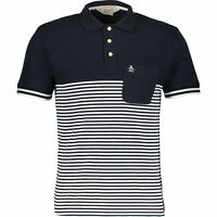 ORIGINAL PENGUIN Men's Heritage Polo Shirt, Slim Fit, Navy & White, size SMALL