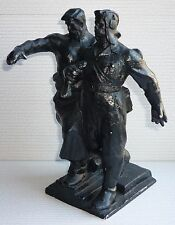 Big Very Rare Russian Soviet monument Worker and Tankman metal statue sculpture
