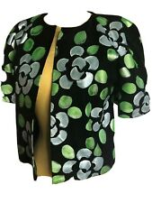 JIKI MONTE CARLO  Cropped Black Hand Painted Suede Jacket Circa 1980s