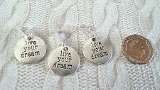 LIVE YOUR DREAM clip on or bail coin CHARM PENDANT for NECKLACE or BRACELET