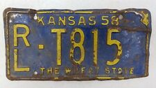 1958 KANSAS Riley County The Wheat State Truck License Plate RL-T815
