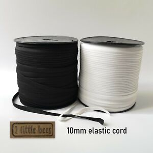 Flat Elastic Cord White Black Cord 10mm Sewing Craft Accessories Piping UK