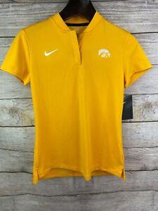 NEW NIKE Womens Dri-Fit 1/4 Zip Short Sleeve Gold Iowa Hawkeye Shirt 923262