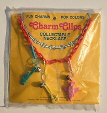 VTg Bell Charm Necklace 80s 3 Clip Plane Pipe Wrench Tools Plastic Gift NOS