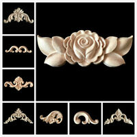 4pcs Unpainted Wood Carved Corner Onlay Applique Frame Decal Furniture Moulding