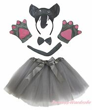 Halloween Party Adult Women Gray 3D Elephant Headband Paw Tail Bow Skirt Costume