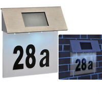4x LED Stainless Steel Solar Powered House Door Number,Outdoor Wall Plaque Light