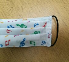 Handmade multi colour musical notes folded  face mask with filter layer & loops