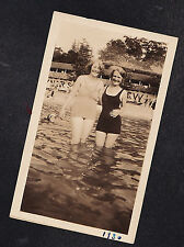 Vintage Antique Photograph Two Women in Old Time Bathing Suits Standing in Water
