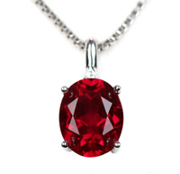 Top quality 9x11mm Oval PIGEON BLOOD RED Ruby Sterling Silver Pendant Necklace