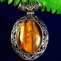 Carved Tibetan Silver Wrapped Tiger Eye Gem Oval Pendant Bead
