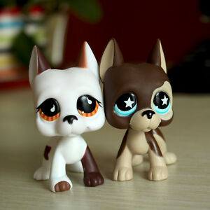 2psc LPS Toys Girl's Gift Great Dane Dog Lot Pet Shop Brown White Puppy toy