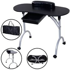 Portable Black SPA Beauty Salon Manicure Nail Station Desk Table w/ Wheels & Bag